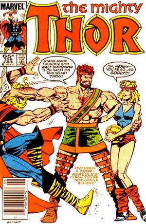 Thor (1966) #356, cover lettered by Tom Orzechowski.