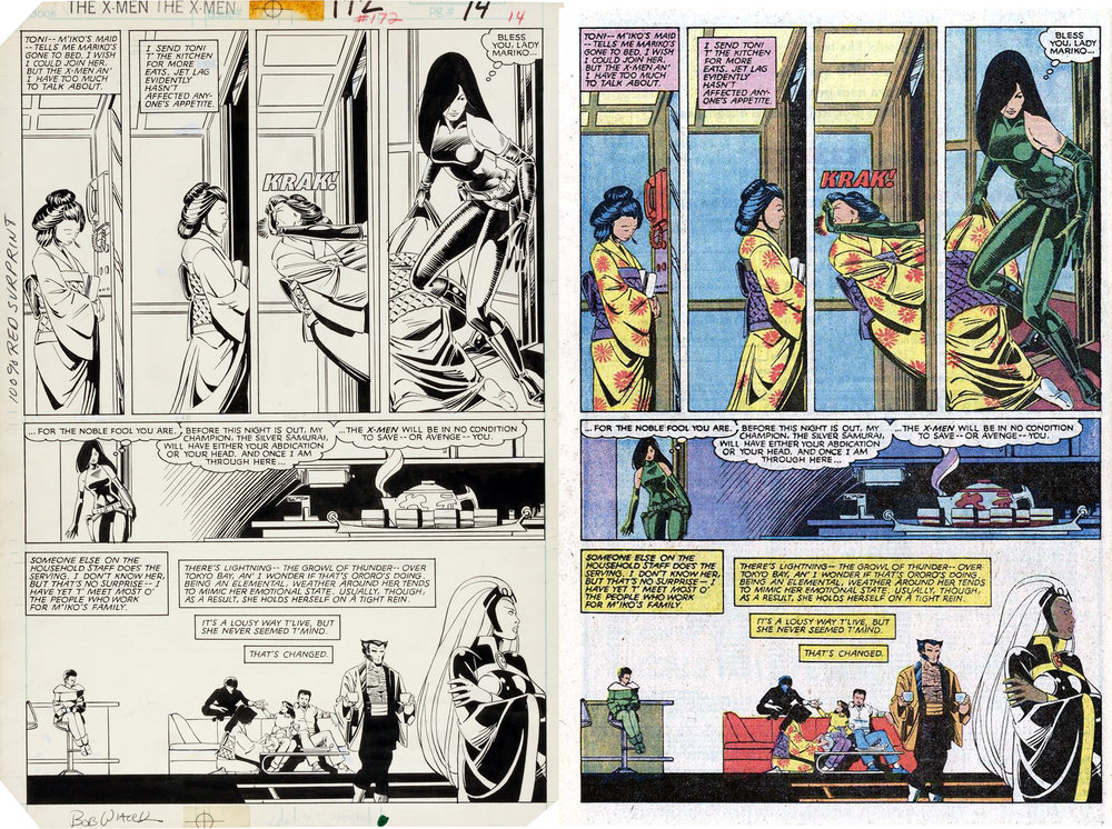 Uncanny X-Men 172 pg. 10, original art to printed page. Lettered by Tom Orzechowski.