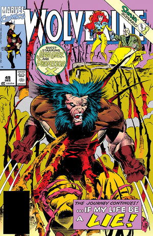 Wolverine (1988) #48, cover lettered by Tom Orzechowski.