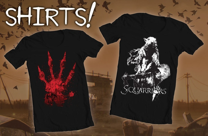Both of the  Squarriors  t-shirts come in men & women's sizes, S-2XL.