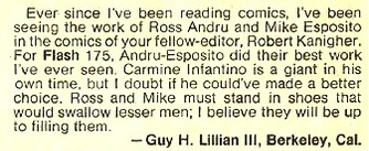 A  Guy Lillian  letter published in the  Flash-Grams  letter column about  Ross Andru  &  Mike Esposito  taking over art duties with  Flash #175 .