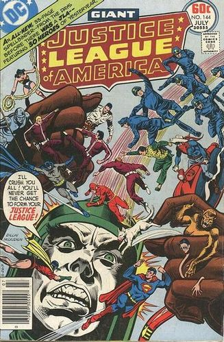 Justice League of America (1960) #144, cover penciled by Dick Dillin & inked by Frank McLaughlin.