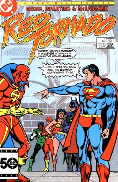 Red Tornado (1985) #1, cover penciled by Carmine Infantino & inked by Frank McLaughlin.