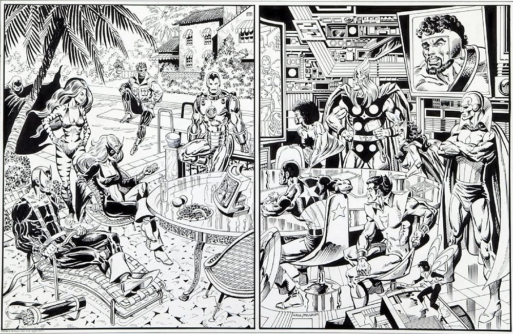 Avengers West & Avengers East, a poster penciled by Bob Hall & inked by Al Milgrom.