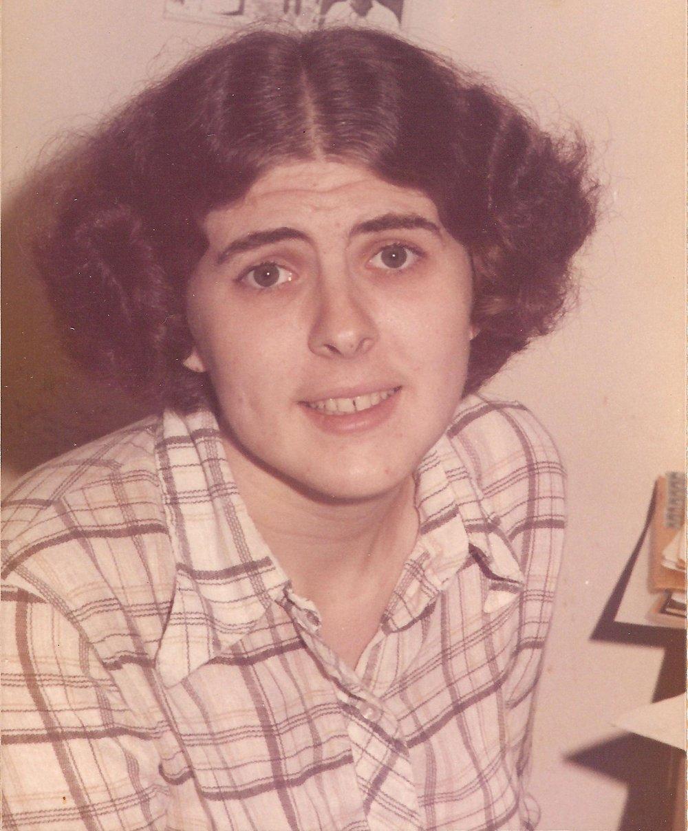 """Impish"" Irene Vartanoff, at work in the Marvel offices - mid-1970's."