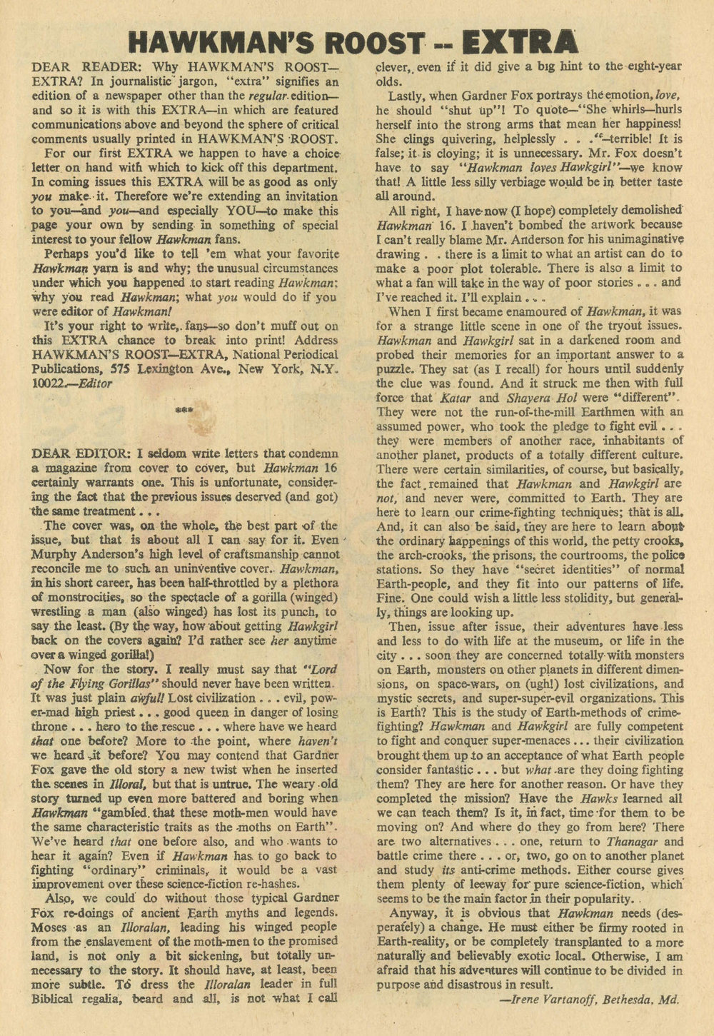 The full page letter written by  Irene  that appears in  Hawkman #18 . You can read the transcription below.