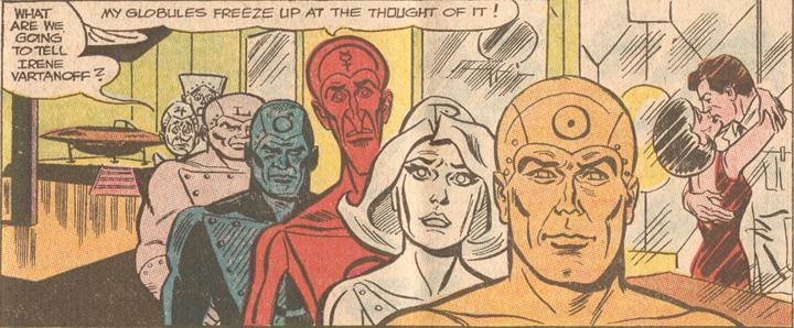 A panel from  Metal Men (1963) #21 . One of  Irene 's letters was read by the characters in this issue.