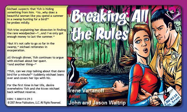 A splash page from  Breaking All The Rules  - Written by  Irene Vartanoff , art by  John & Jason Waltrip . From   MyRomanceStory.com   .