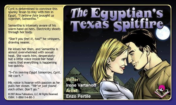 A splash page from  The Egyptian's Texas Spitfire  - Written by  Irene Vartanoff , art by  Enzo Pertile . From   MyRomanceStory.com   .