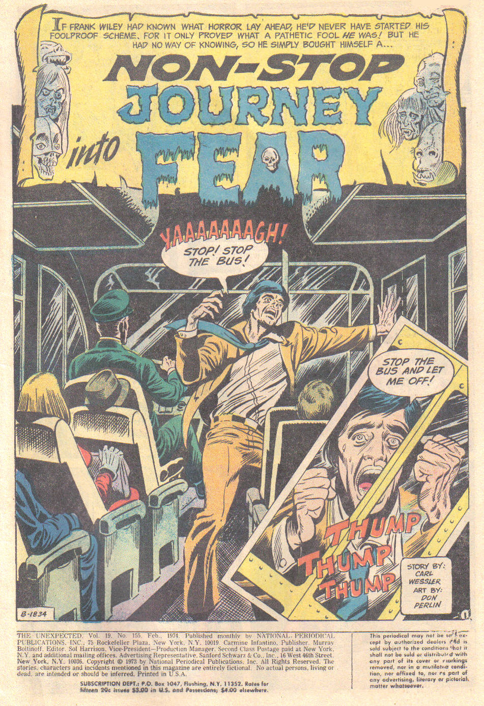 """ Non-Stop Journey Into Fear "" from  Unexpected (1968) #155 . Art by Don Perlin."