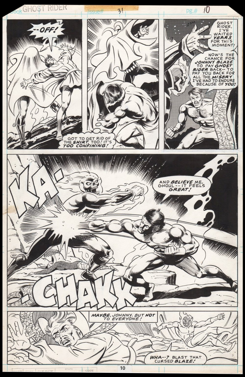 Ghost Rider (1973) #31 pg10, penciled by Don Perlin & inked by Bob Layton.