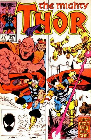 Thor (1966) #357, cover by Walt Simonson, lettered by John Workman.