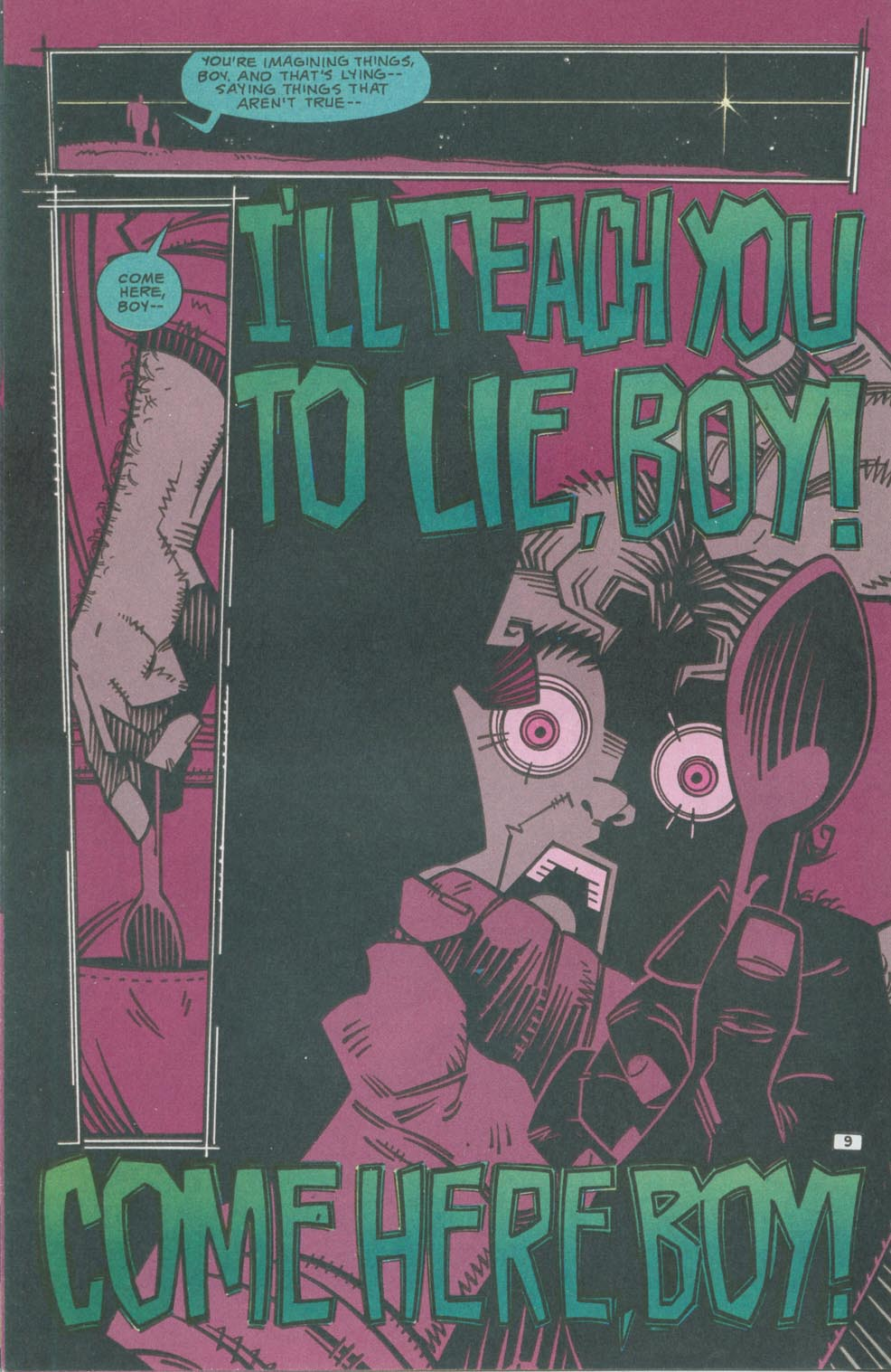 Mister E (1991) #1 pg9, lettered by John Workman.