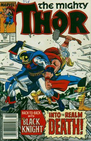 Thor (1966) #396, cover by Ron Frenz & Brett Breeding, lettered by John Workman.
