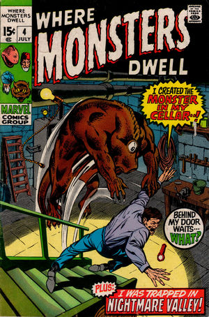 Where Monsters Dwell (1970) #4, cover penciled by Marie Severin & inked by Tom Palmer.