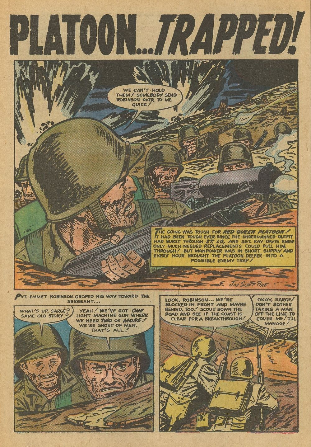 "Battleground (1954) #18, interior story ""Platoon Trapped"" - penciled & inked by Jay Scott Pike."