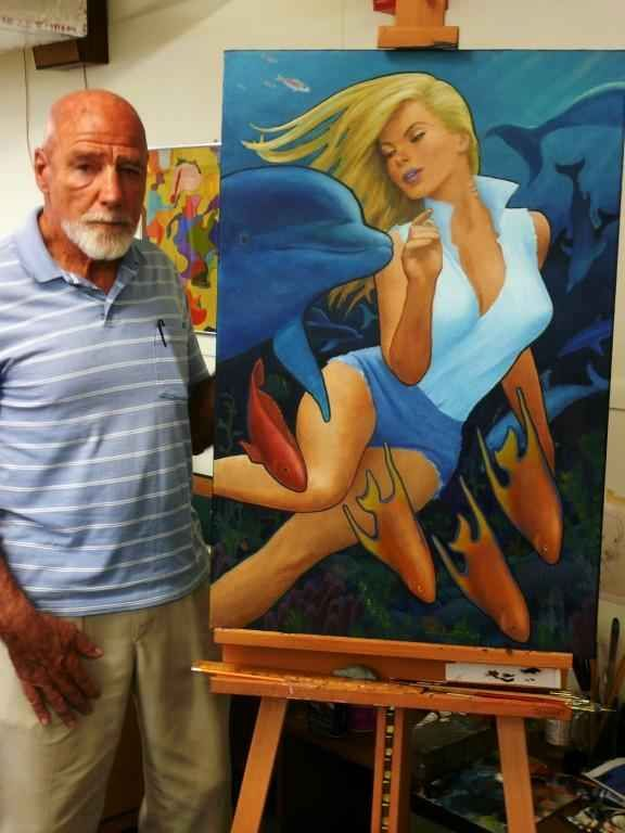 Jay Scott Pike , standing with an oil painting of his creation -  Dolphin .