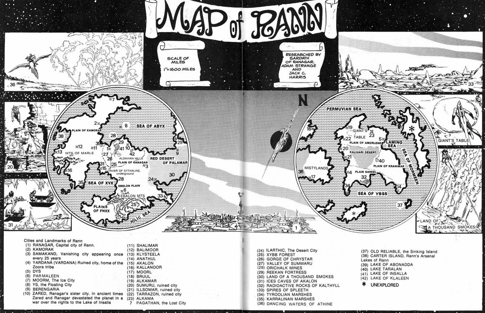 Map of Rann by Jack C Harris, appearing in  Amazing World of DC Comics (1974) #8  pg.24-25.