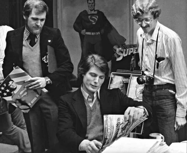 Jack Harris, Christopher Reeve, & Todd Klein in the DC offices - 1978.