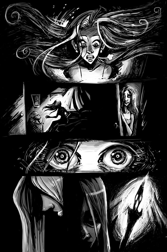 A horrific wake-up call. A page from   Alone At Night   by Ryan Fassett & Chandra Free.