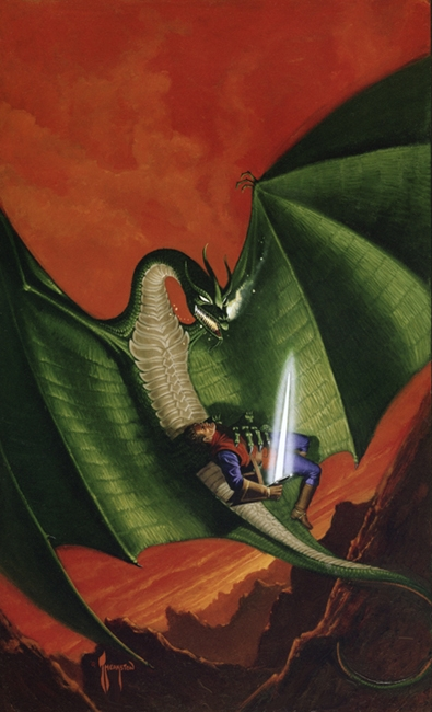 Cover for  Telengard , a 1976 video game.Art by Greg Theakston.