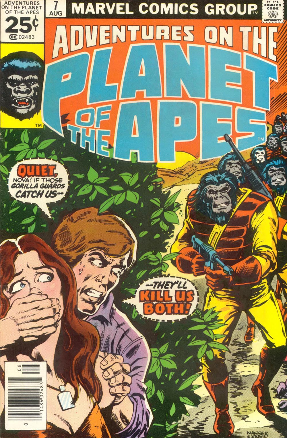 Adventures on the Planet of the Apes (1975) #7, cover penciled by Mike Nasser & inked by Klaus Janson.