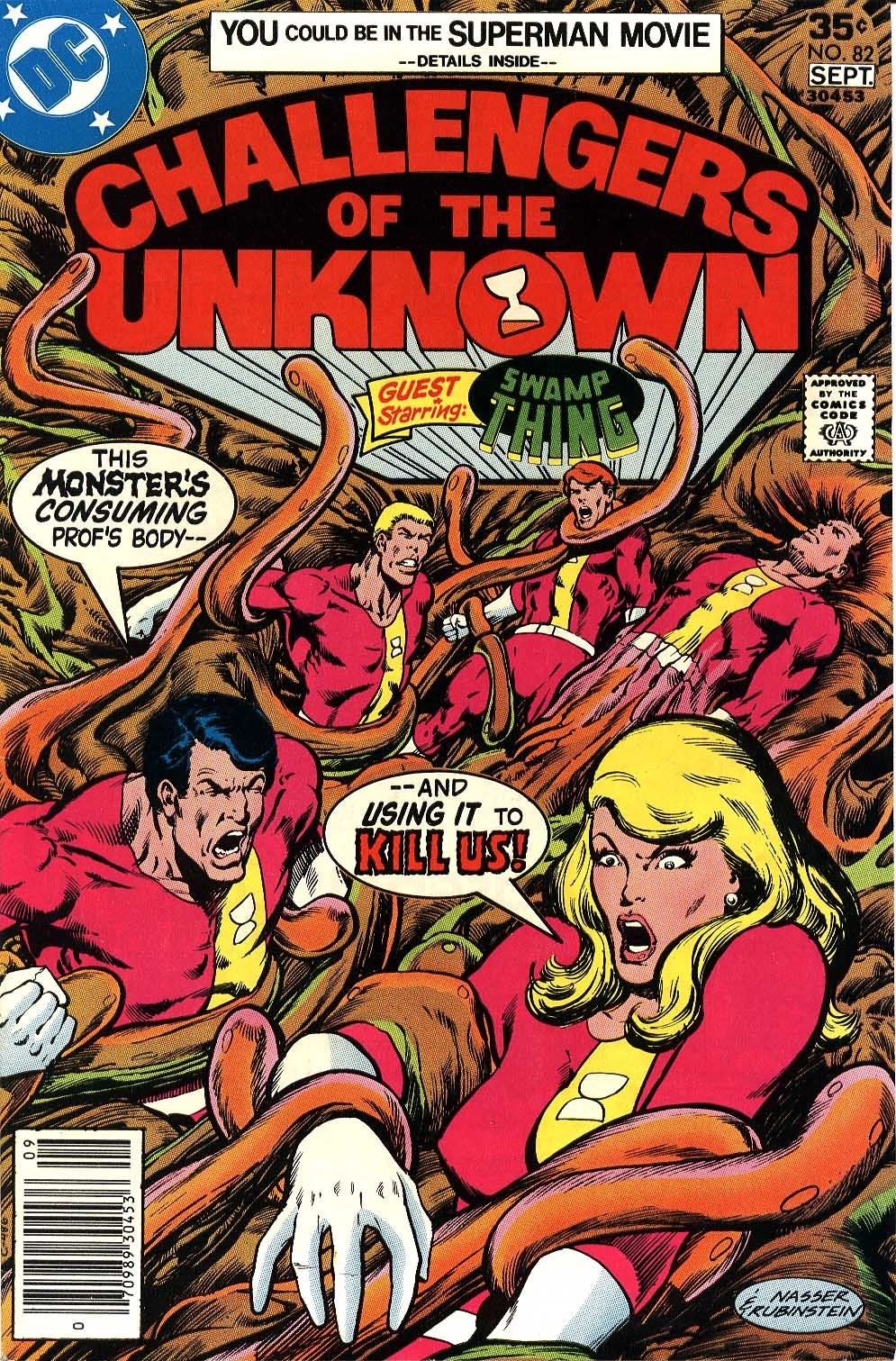 Challengers of the Unknown (1958) #82, cover penciled by Mike Nasser & inked by Joe Rubinstein.