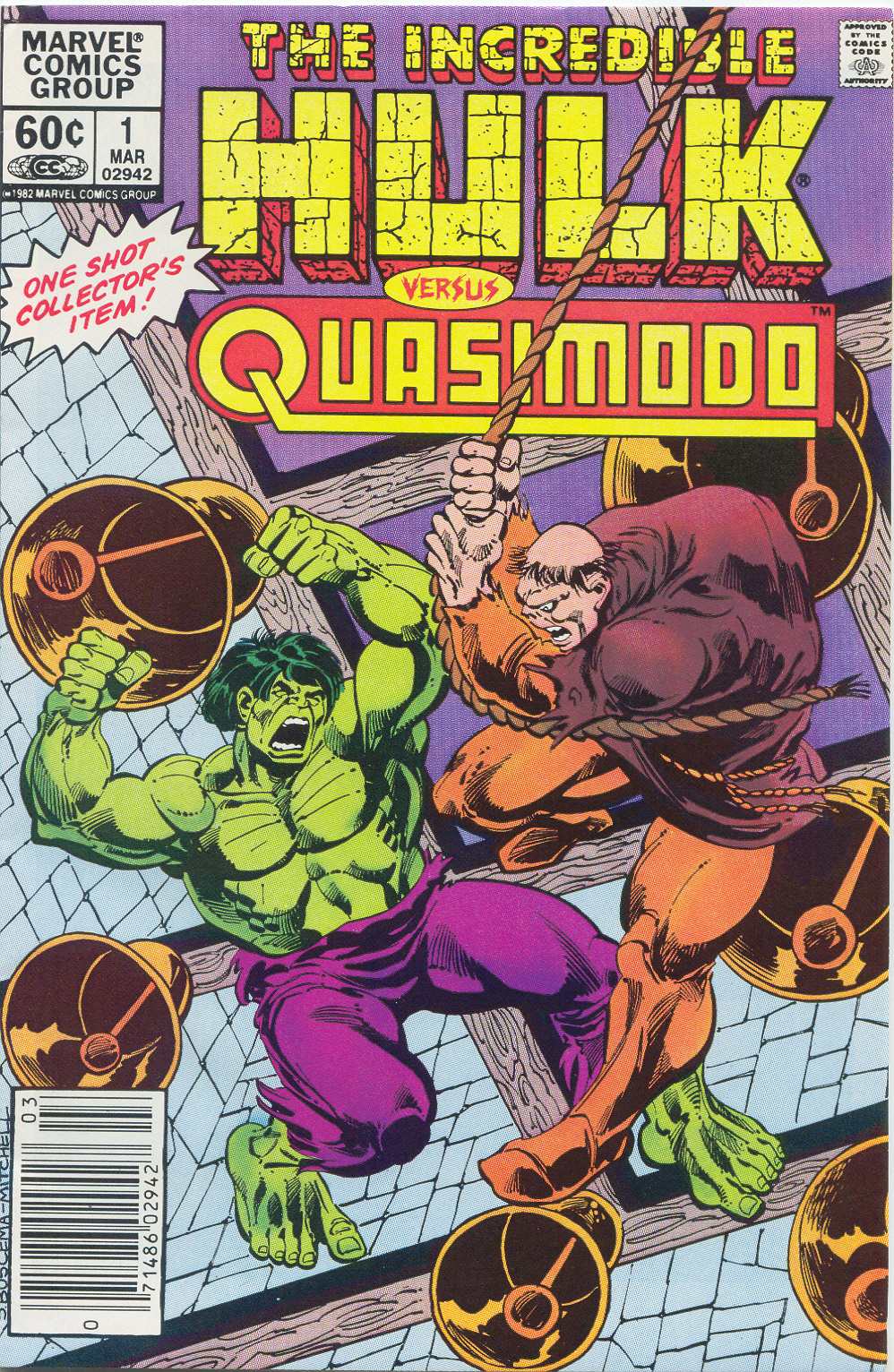Incredible Hulk Versus Quasimodo (1983) #1, cover penciled by Sal Buscema & inked by Steve Mitchell.