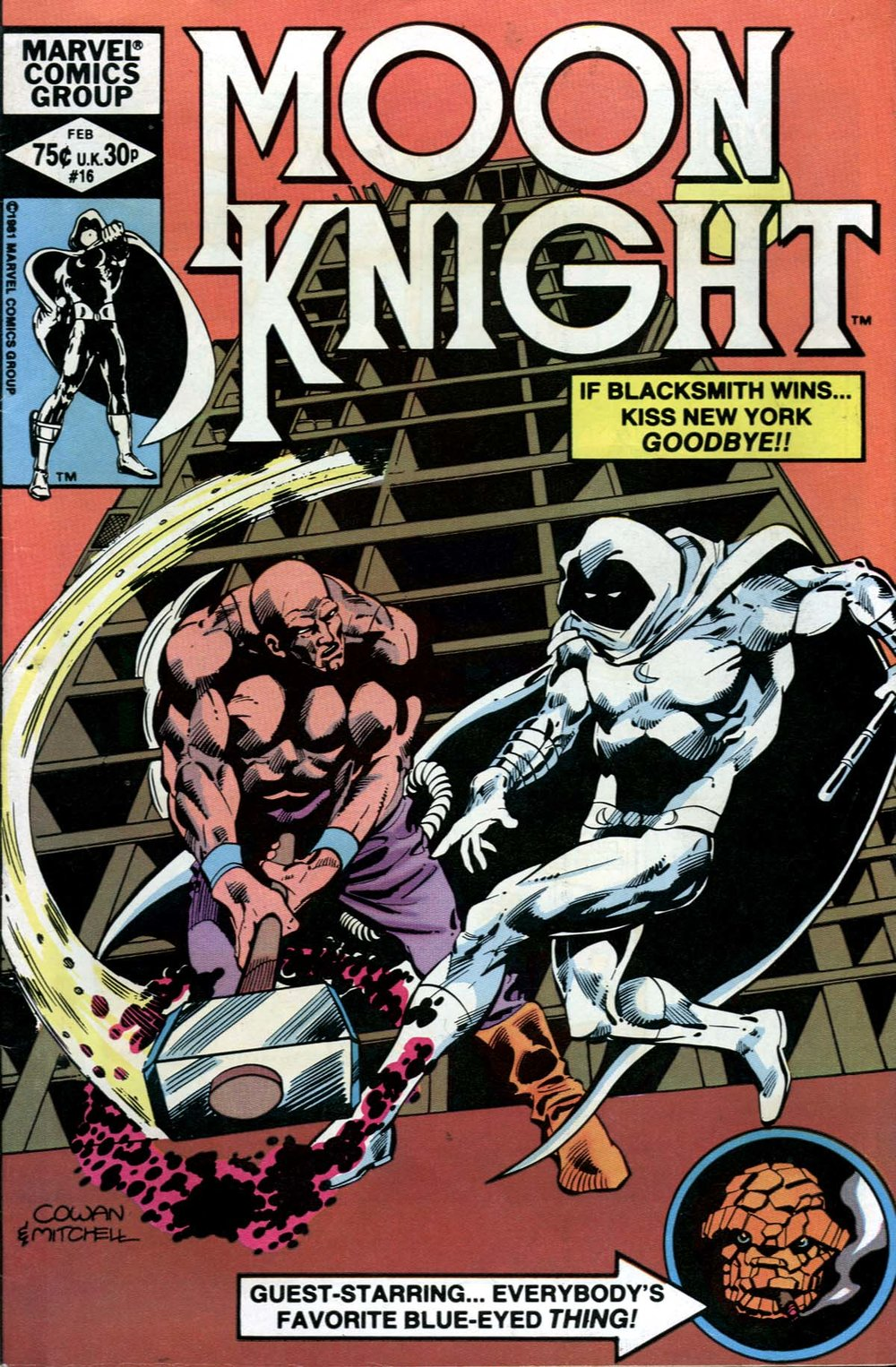 Moon Knight (1980) #16, cover penciled by Denys Cowan & inked by Steve Mitchell.