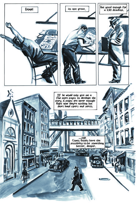 Krigstein: A Graphic Novel  - Sample Page 2, art & story by Joe D'Esposito.