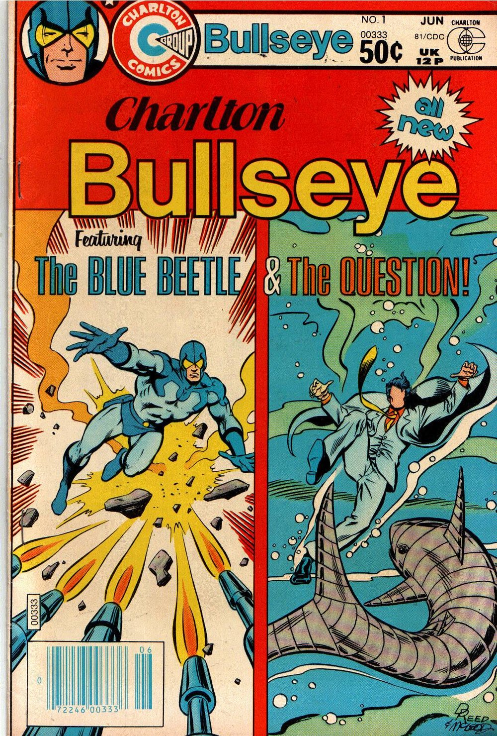 Charlton Bullseye (1981) #1, cover penciled by Dan Reed & inked by Bob McLeod.