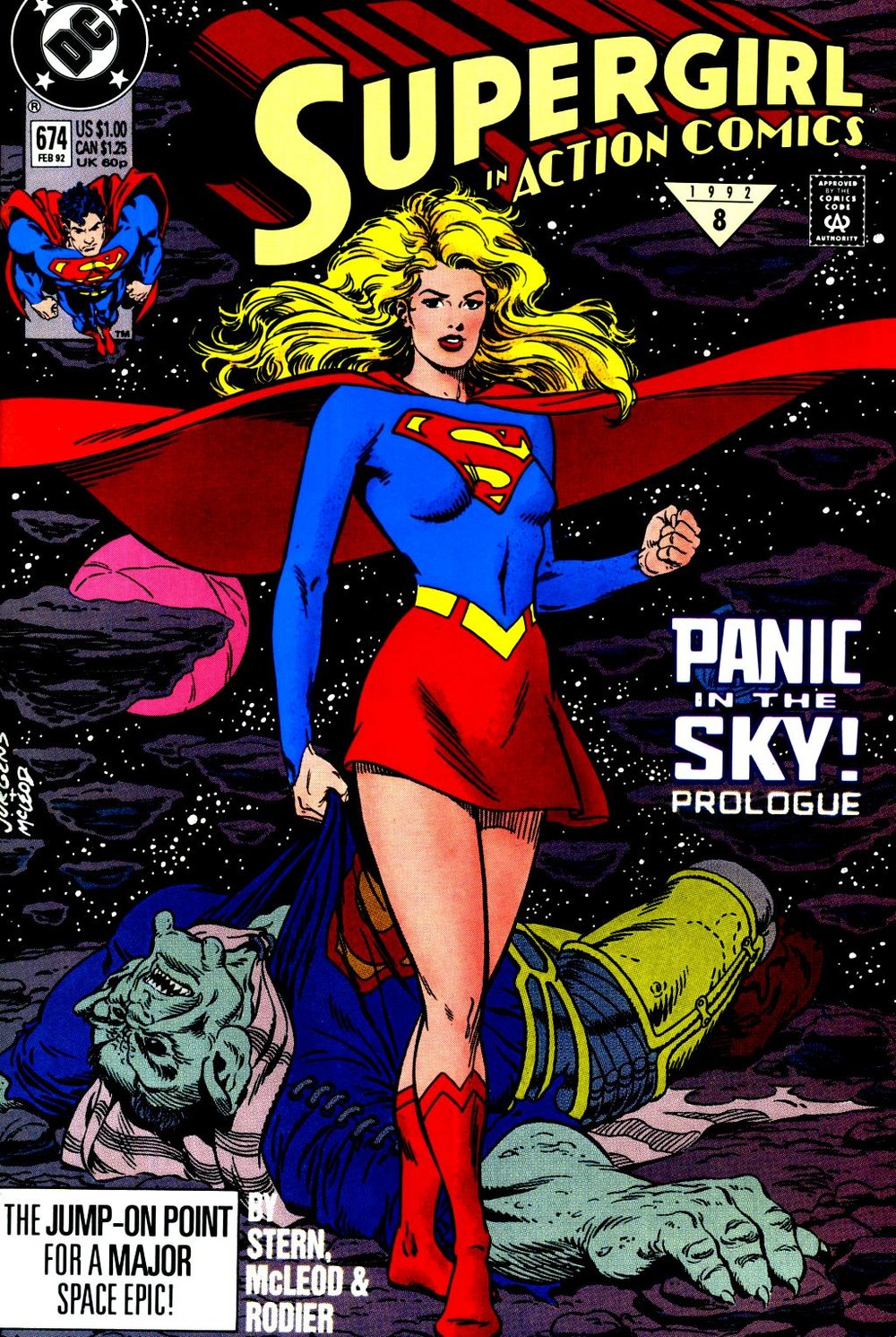 Action Comics (1938) #674, cover penciled by Dan Jurgens & inked by Bob McLeod.