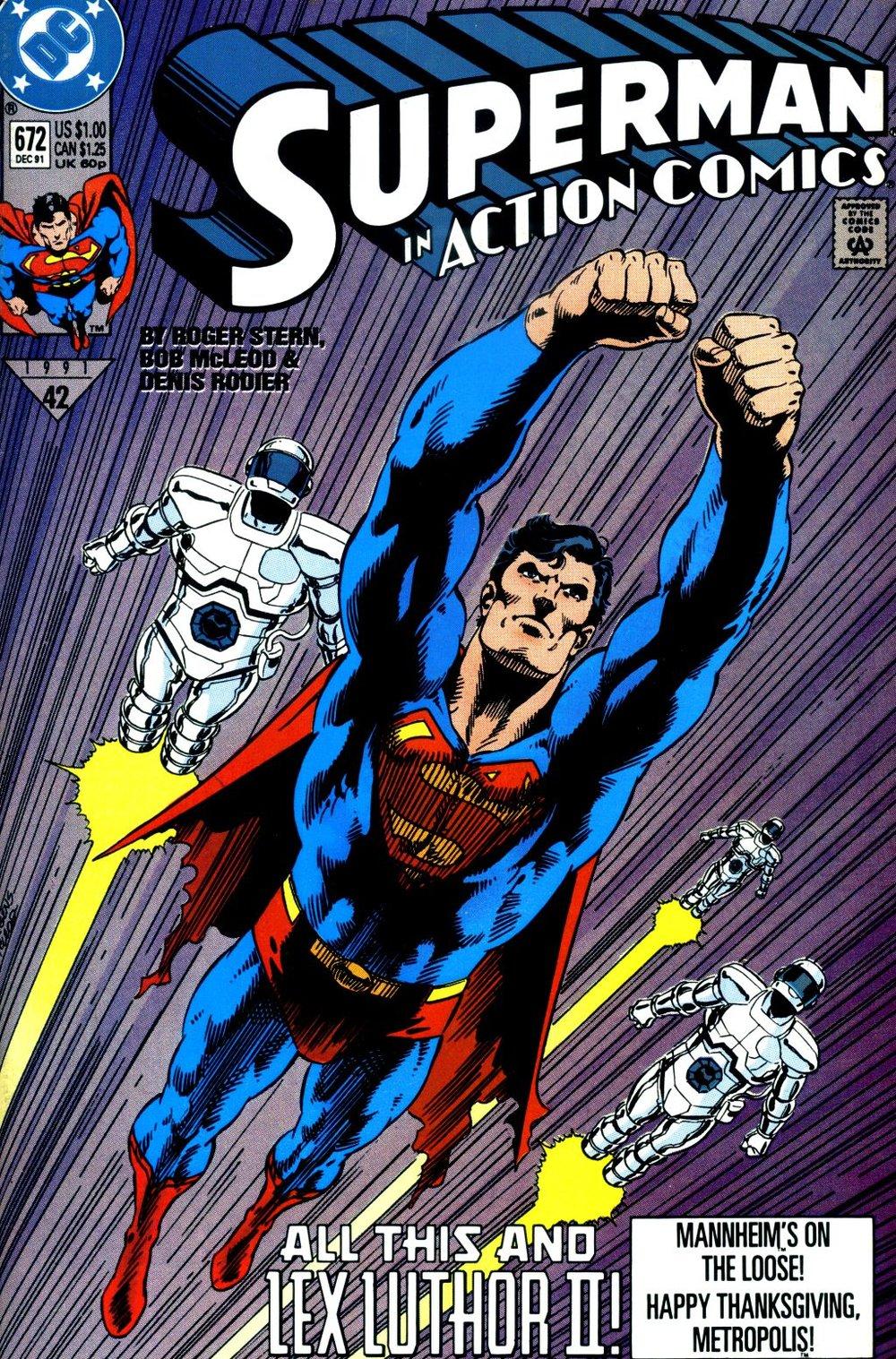 Action Comics (1938) #672, cover penciled by Dan Jurgens & inked by Bob McLeod.