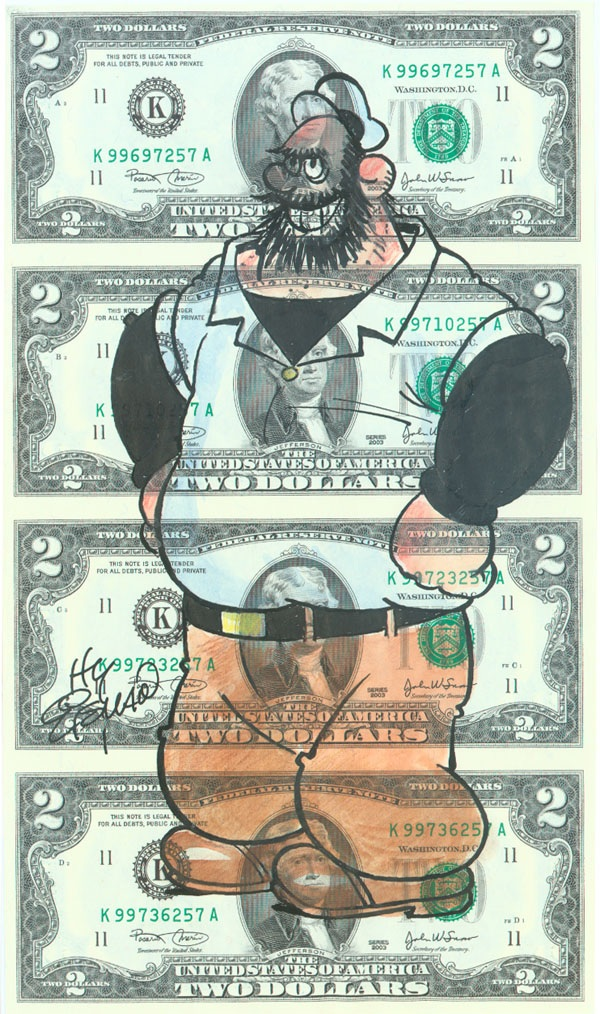 Bluto, drawn by Hy Eisman on an uncut sheet of $2 bills.