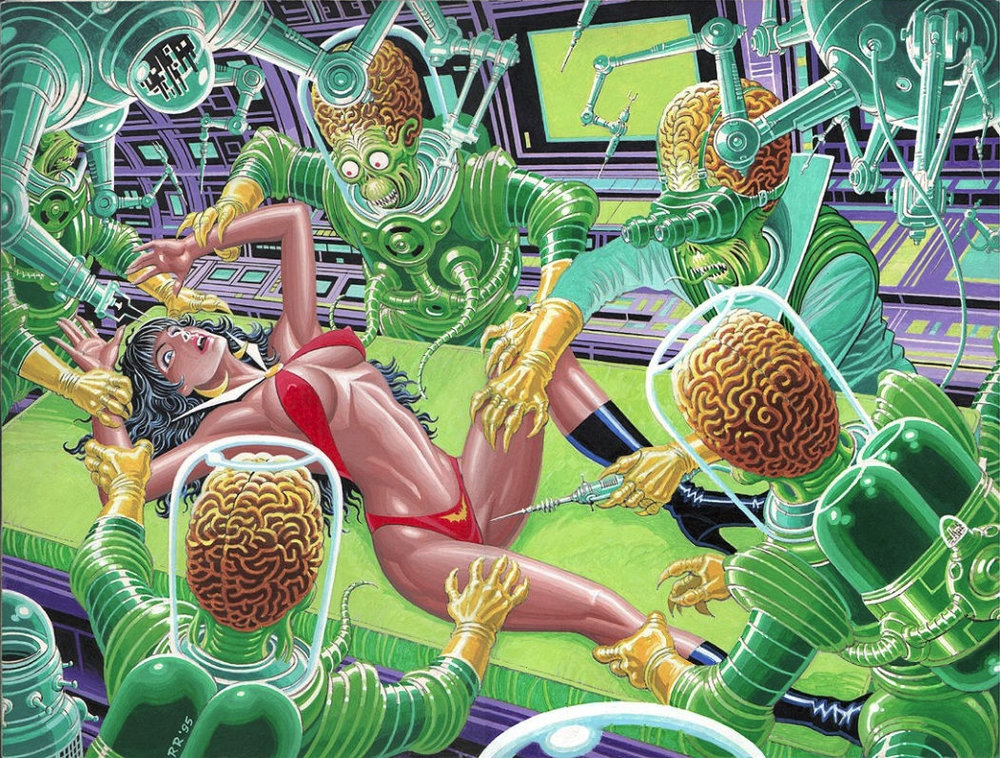 Mars Attacks Vampirella - a 1995 painting by Ralph Reese.