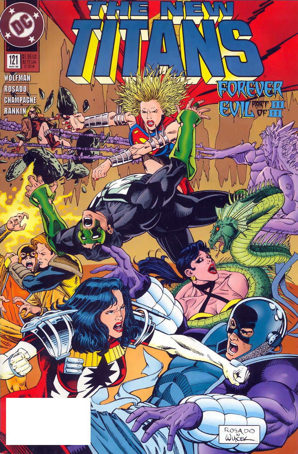 The New Titans (1984) #121, cover penciled by William Rosado & inked by Bob Wiacek.