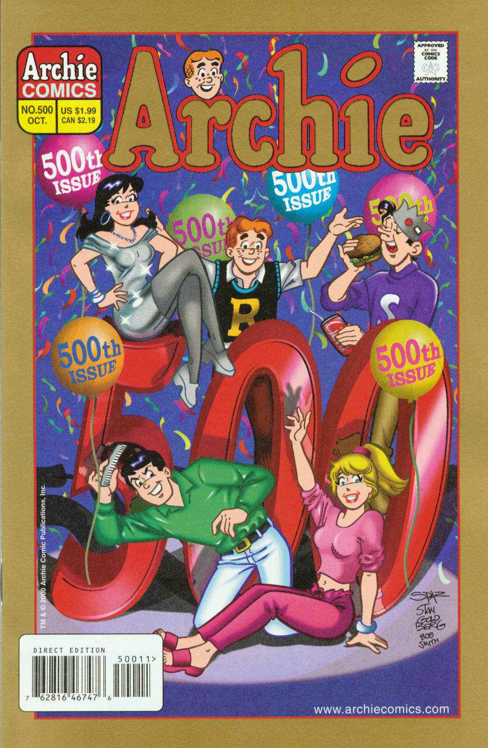 Archie (1960) #500, cover penciled by Stan Goldberg & inked by Bob Smith.