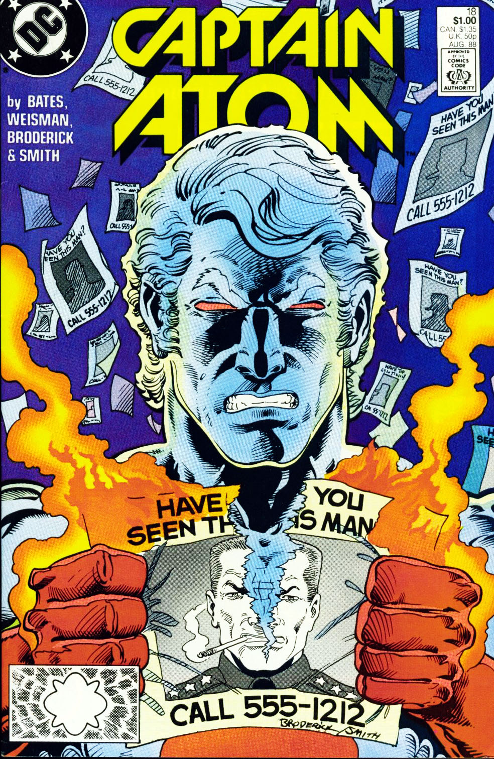 Captain Atom (1987) #18, cover penciled by Pat Broderick & inked by Bob Smith.