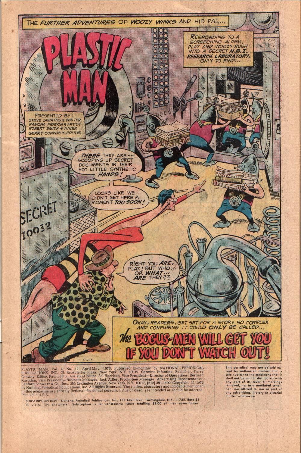 Plastic Man (1966) #12 pg1, penciled by Ramona Fradon & inked by Bob Smith.