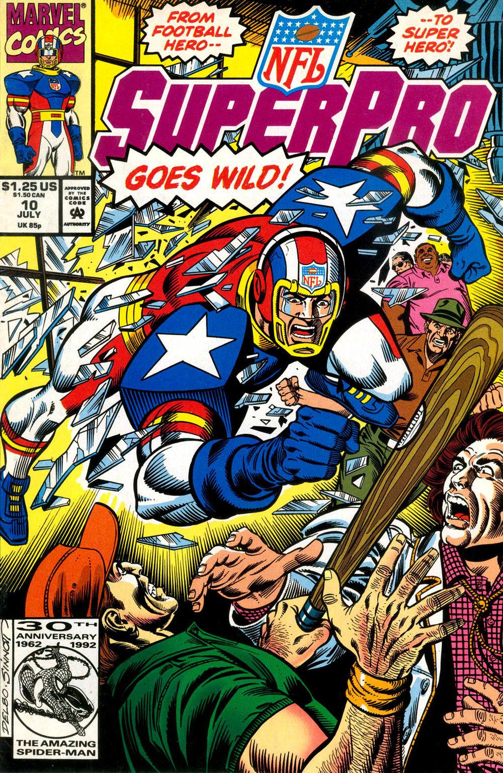 NFL SuperPro (1991) #10, cover penciled by Jose Delbo & inked by Joe Sinnott.