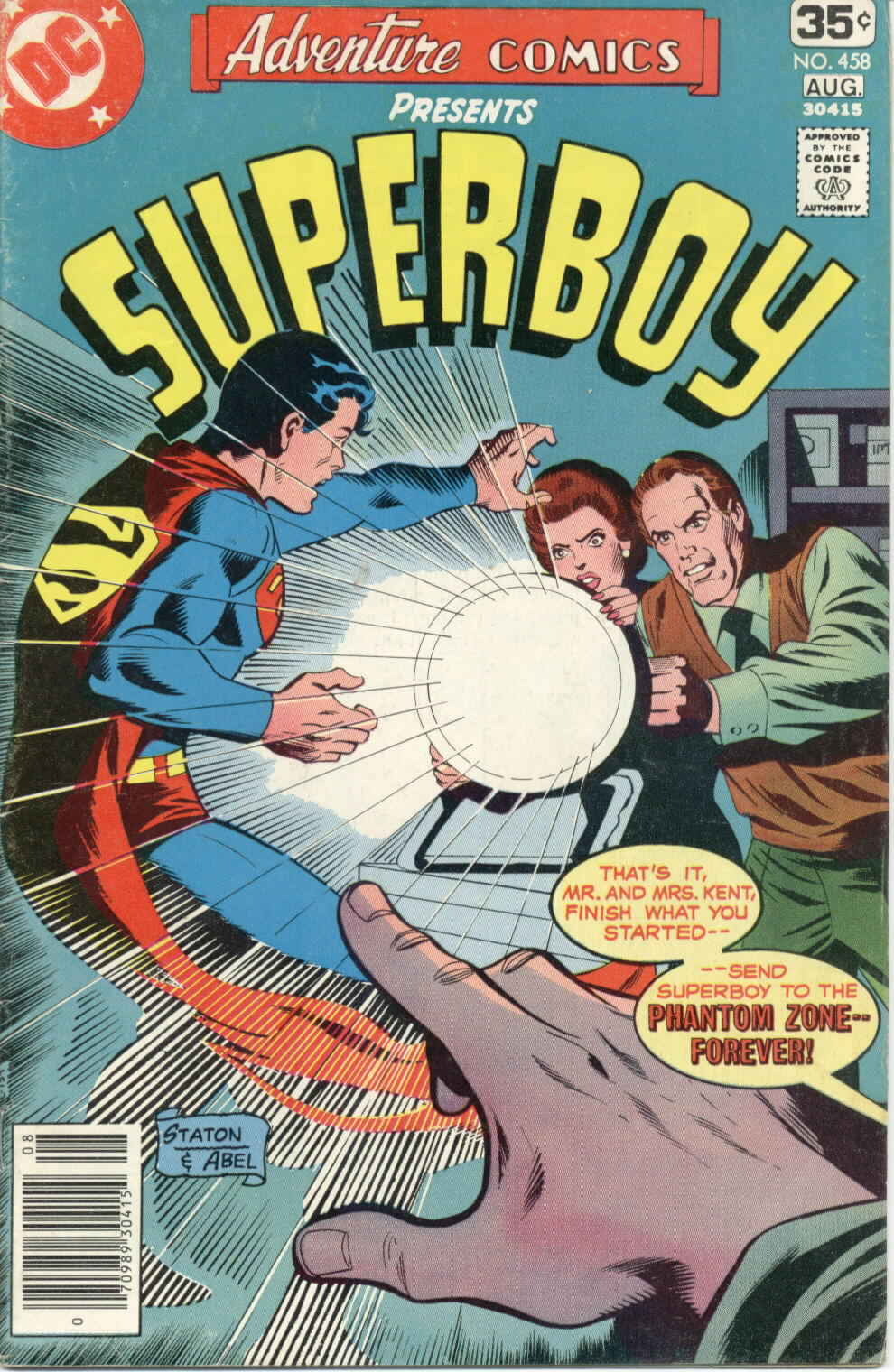 Adventure Comics (1938) #458, cover penciled by Joe Staton & inked by Jack Abel.