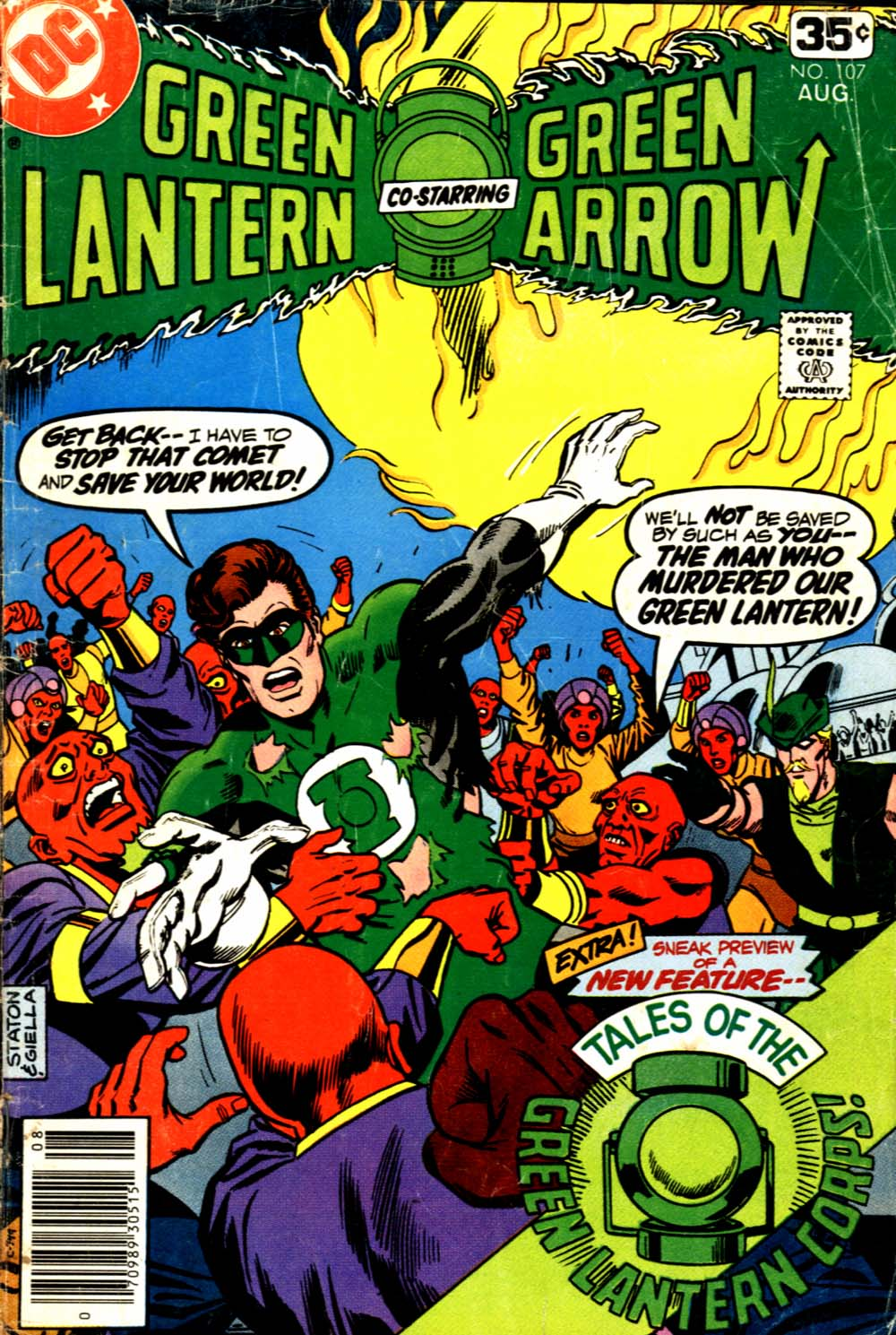 Green Lantern (1960) #107, cover penciled by Joe Staton & inked by Joe Giella.