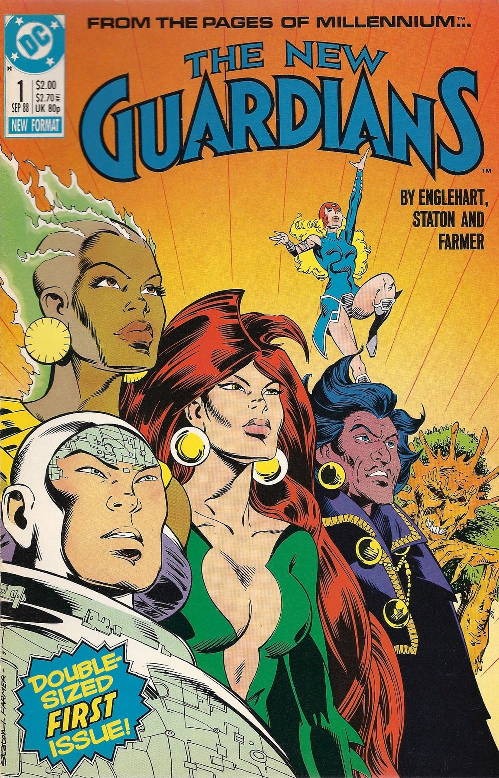 New Guardians (1988) #1, cover penciled by Joe Staton & inked by Mark Farmer.