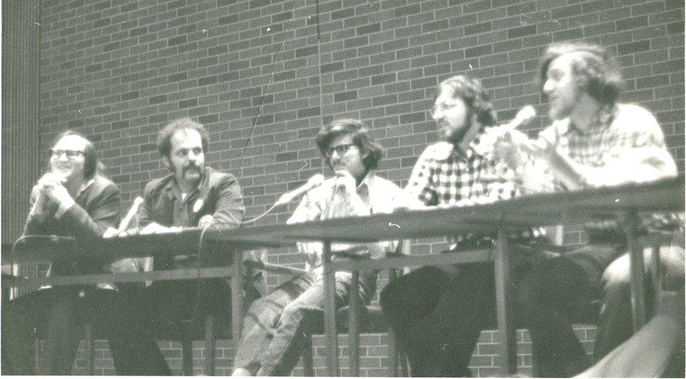 Joe Staton, Nicola Cuti, Paul Levitz, Marv Wolfman, Len Wein at a convention circa 1974.