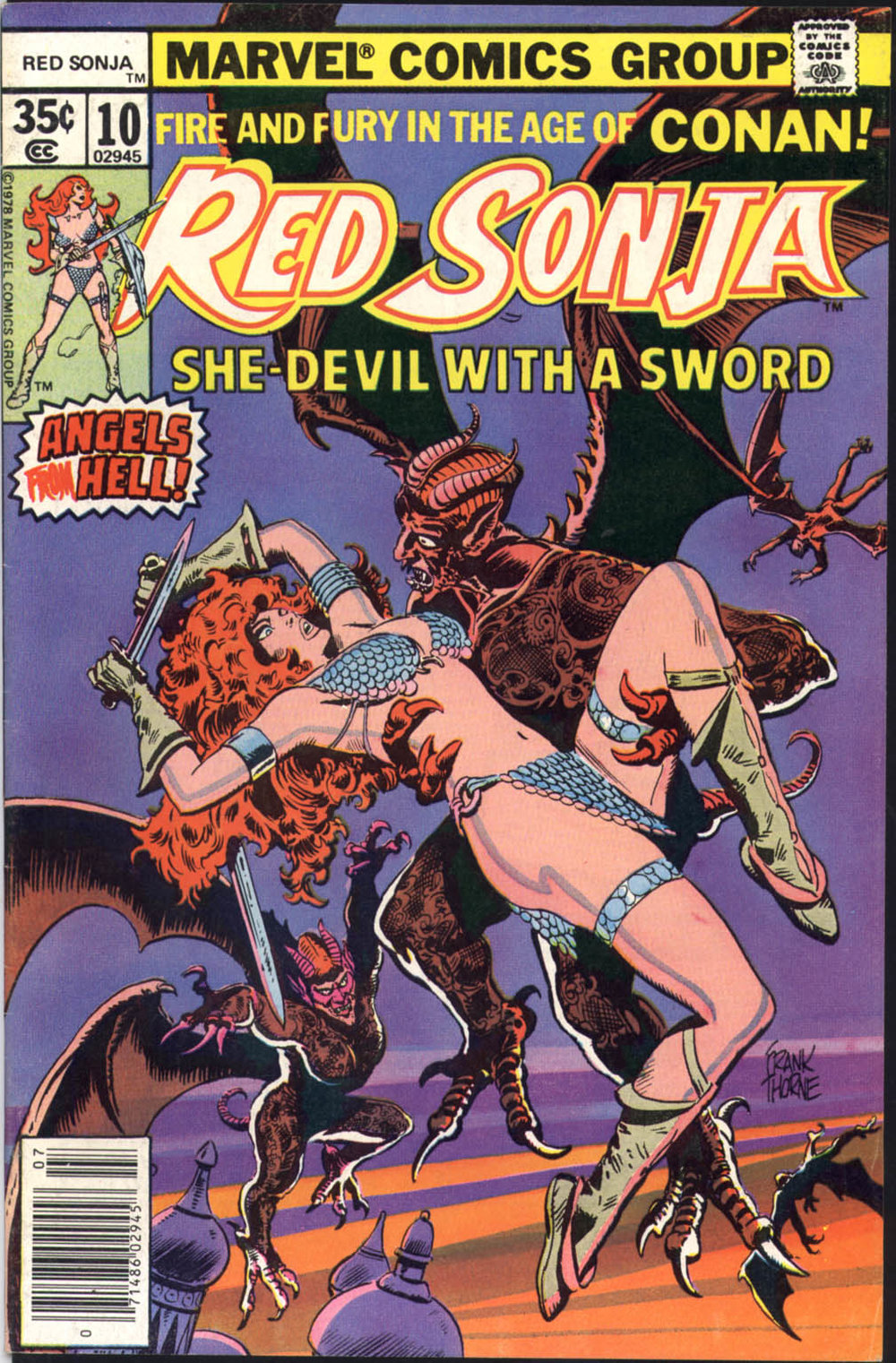 Red Sonja (1977) #10, cover by Frank Thorne.