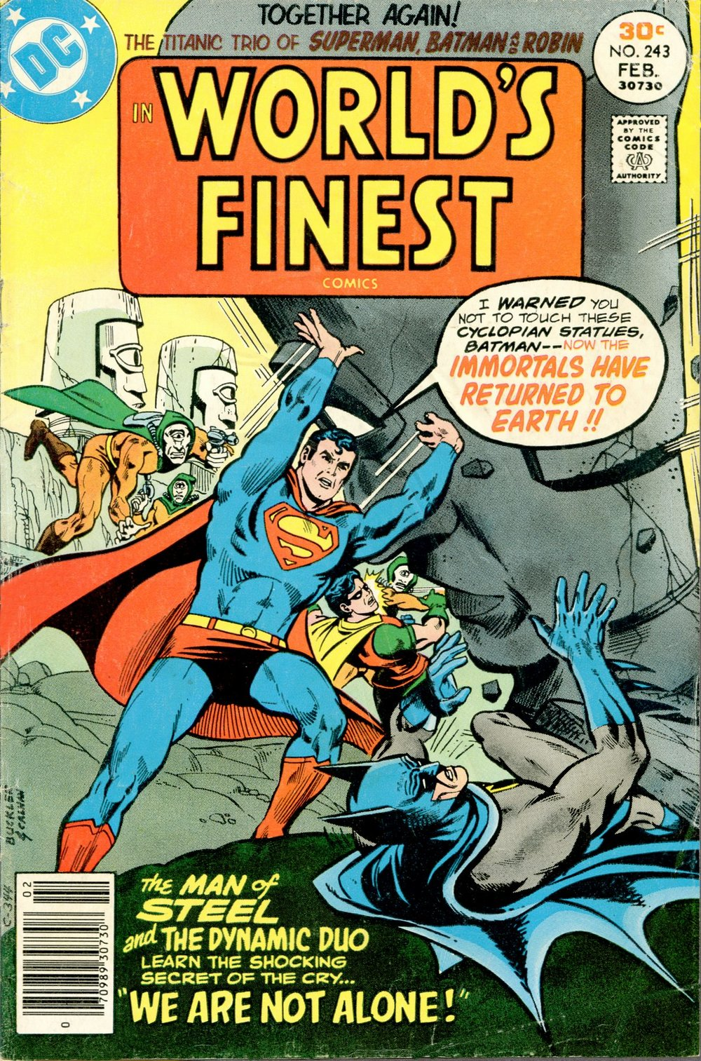World's Finest Comics (1941) #243, cover penciled by Rich Buckler & inked by John Calnan.