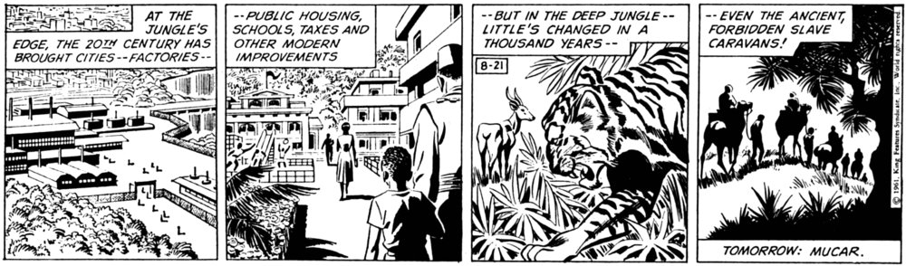 The Phantom: Slave Market of Mucar strip from 8-21-61, art by Sy Barry.