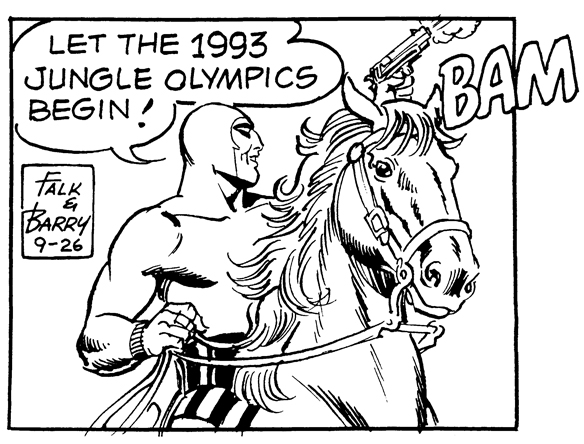 Panel From The Phantom: The Jungle Olympics from 9-26-93, art by Sy Barry.