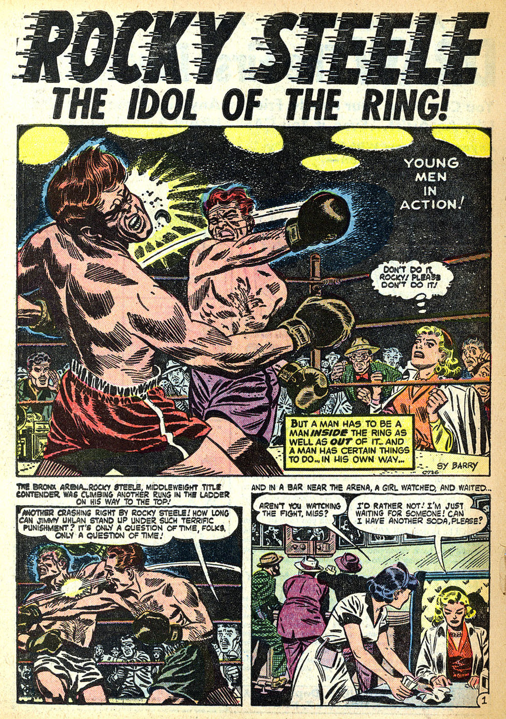 Young Men (1950) #22 pg20, art by Sy Barry.