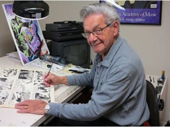 Sy Barry working on a strip, 2014.
